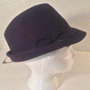 NWT Scala purple wool felt fedora black bow